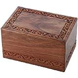 Solid Rosewood Border Engraving Handcarved Cremation Urn - Medium, Wooden Urn