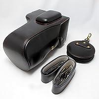 【ノーブランド】 PENTAX K-1 専用 開閉式 ケース 24-70mm 対応 セット商品 開閉式 ケース+レンズカバー+レンズキャップケース+ショルダーストラップ (ブラック)