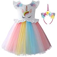 OBEEII Baby Kid Girl Unicorn Costume Flower Tutu Tulle Dress Princess Pageant Party Cosplay Fancy Dress Up Evening Gown
