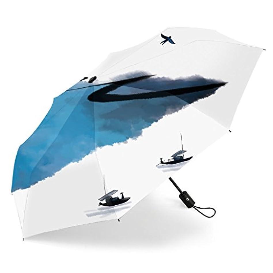 イサカ湿度テスピアン傘レトロな中国スタイルの自動スイッチの折り畳み雨の雨デュアルユース韓国の小さな新鮮な日焼け止めクリエイティブ