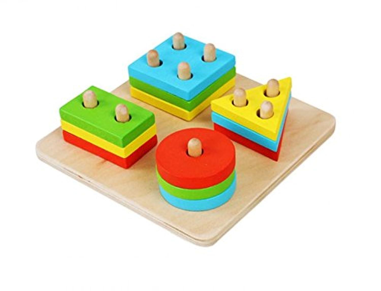 PerPure ベビーボードゲーム 木製 形状計画ブロック 幾何学認知 棒さし 知育玩具セット