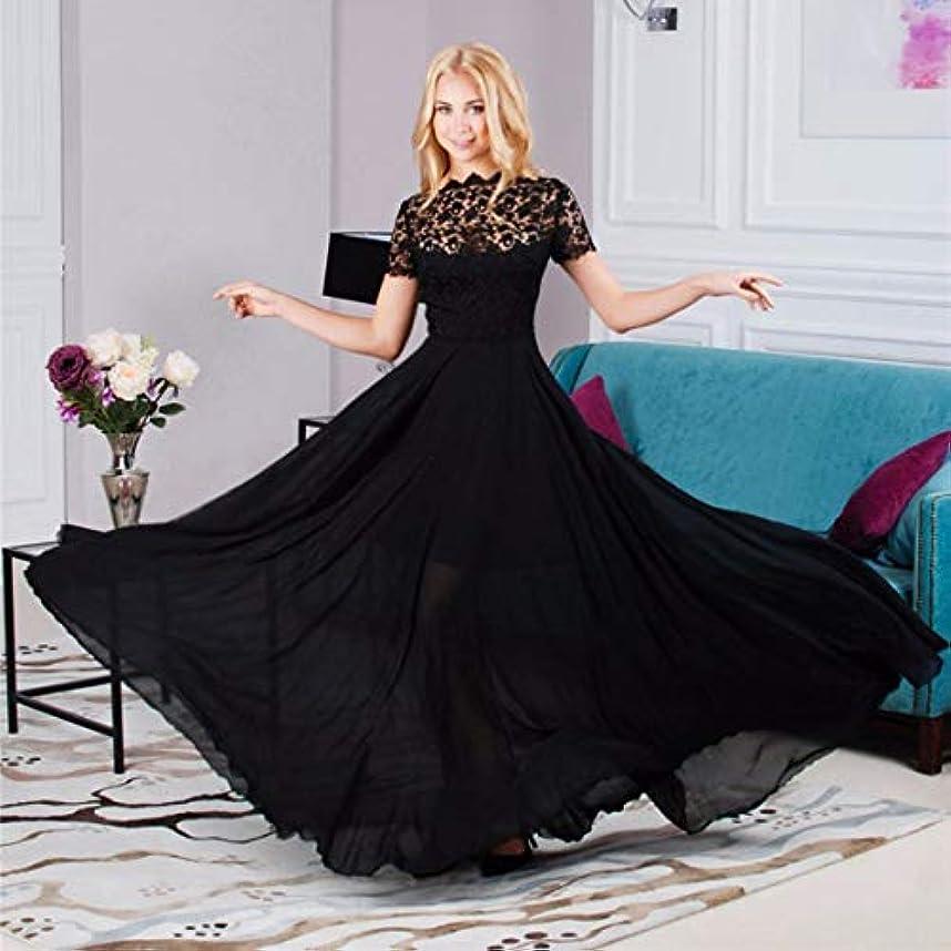 五戻す想定Blackfell レースのステッチロングドレスと女性のドレス半袖