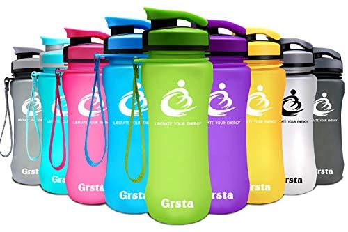 Grsta ボトル 水筒 ウォーターボトル アウトドアボトル スポーツボトル 600ml 自転車 大人 子ども アウトドア スポーツ 登山用 プラスチック製 直飲み BPAフリー 漏れない 大容量 おしゃれ 携帯便利 運動用 全11色(グリーン,600ml)