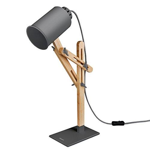 Tomons木製多角度スイングアームデスク テーブル オフィス ベッドサイド ナイトスタンド 読書 勉強 仕事 E26 / 27ソケットLED /蛍光灯/白熱灯ライト使用可能 マルチライトカラー、25W及び以下 - グレー