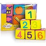 布地ブロック ラトル乳児パズル カラフルな布のおもちゃとベビー布ビルディングブロック 6PCS /セット 7cm カラー