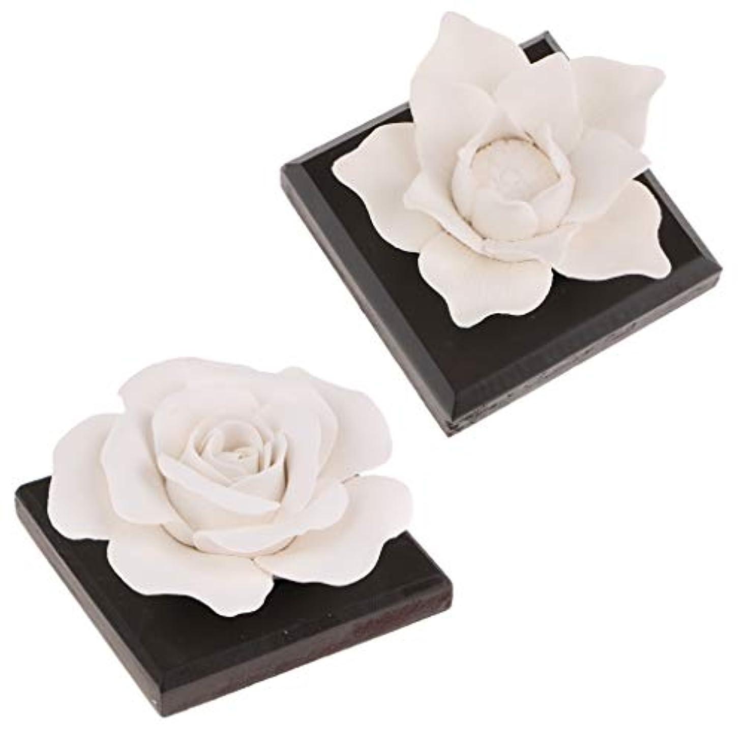 メアリアンジョーンズ来て発行FLAMEER 2パックの白い花の陶磁器の芳香剤の香水のにおいの拡散器の装飾の技術