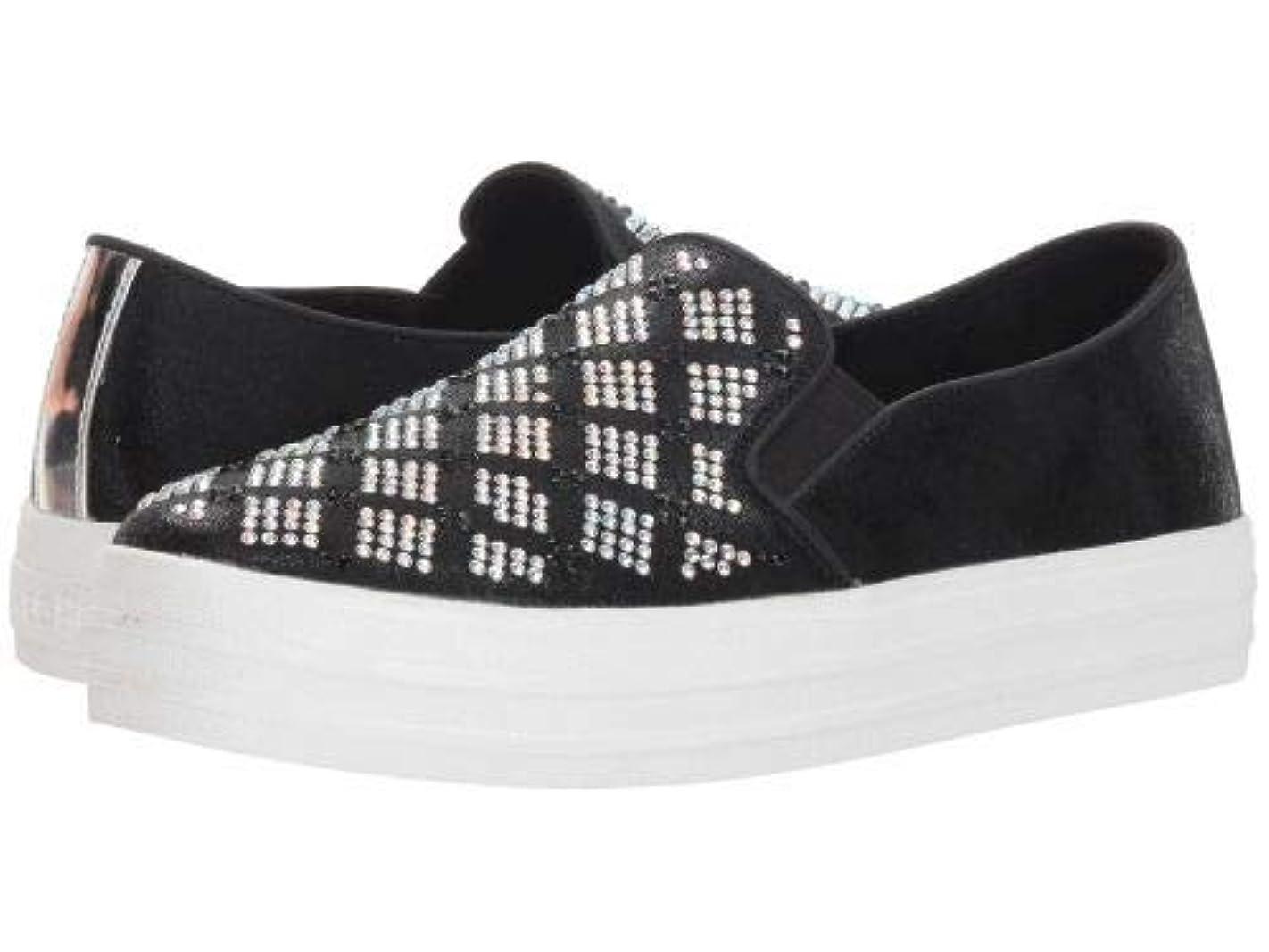 他のバンドで死すべき挑むSKECHERS(スケッチャーズ) レディース 女性用 シューズ 靴 スニーカー 運動靴 Double Up - Black/Silver [並行輸入品]