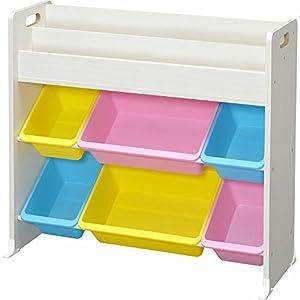 アイリスオーヤマ(IRIS) おもちゃ箱 パステル 幅85.6×奥行34.7×高さ79.8cm トイハウスラック 絵本棚付き ETHR-26