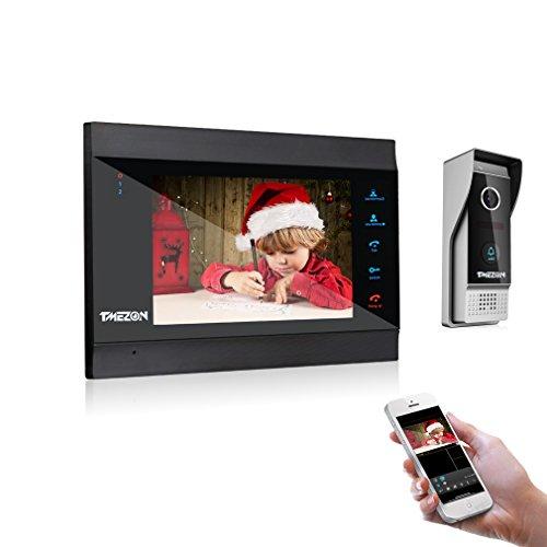 TMEZON 7 Inch Wireless Wifi IP Video Door Phone Doorbell Intercom Entry System with 1x1200TVL CCTV Camera Night Vision,Support Remote unlocking,Talking,Monitoring