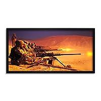 James Military Afghan Soldiers Fire 50 Calibre Machine Gun Photo Framed Wall Art Print Long 25X12 Inch 軍事兵士火災写真壁