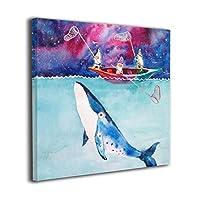 水色のクジラ キャンバス絵画 アートパネル キャンバス 絵画 モダンフレーム装飾画 壁飾り 壁ポスター おしゃれ インテリア