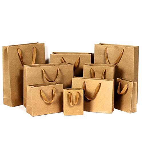 MYHO 紙袋 手提 50個セット クラフト紙 ギフトバッグ ラッピング袋 高級 手提げ袋 厚手 プレゼント袋 22x18x10cm