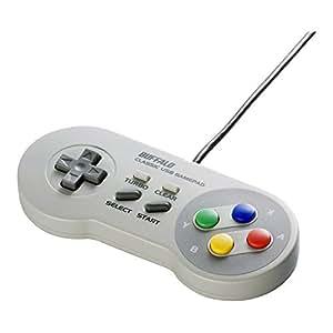 【旧モデル】iBUFFALO USBゲームパッド 8ボタン スーパーファミコン風 グレー BSGP801GY
