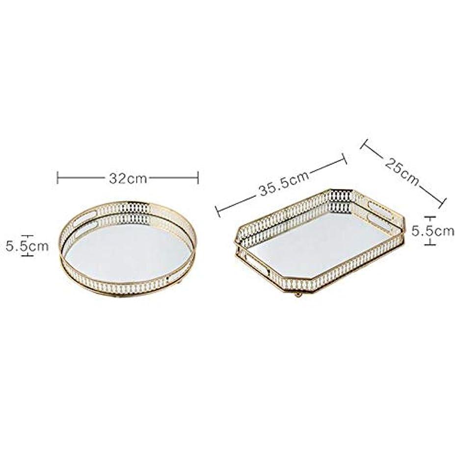 肘建築家摂氏SMMRB 錬鉄製のメッキされたガラスの収納トレイミラーの底のトレイ居間のライト豪華なプレートの装飾フルーツプレート、金 (サイズ さいず : B)