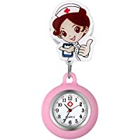 Women Nurse Watches Clip-on Lapel Doctors Clinic Staff Tunic Stethoscope Badge Easy Pull Clasp Stretch Silicone Fob Nursing Watch for Girls