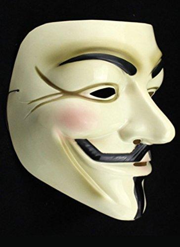 P.C.S.D V for Vendetta Mask アノニマス ガイフォークス 仮面 マスク ホワイト コスプレ 衣装 コスチューム 仮装 メンズ 大人 ハロウィン フリーサイズ
