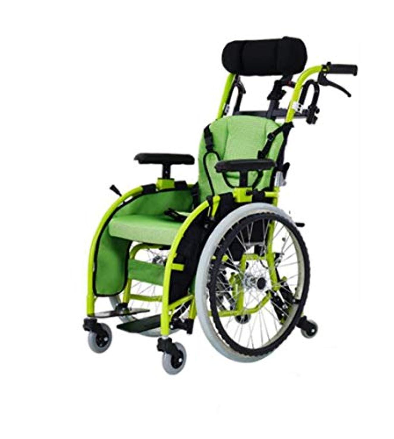 行政甘味ベール子供用車椅子折りたたみライト小さなポータブルハンディキャップトロリー子供アルミ合金手動車椅子