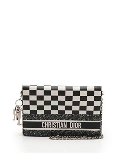 (クリスチャンディオール) Christian Dior チェーンショルダーウォレット レザー 黒 白 中古