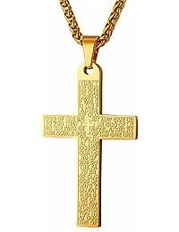 U7 クロス ネックレス メンズ 十字架 ペンダント 聖書刻む お守り アクセサリー 55cm K18金メッキ[GP2437]