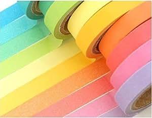 マスキングテープ 10色カラー セット (ビビットカラー系) 7mm幅×5m巻き