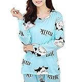 チェリー丁目 女性の冬のパジャマセット、かわいい漫画の乳牛の印刷物、ポケットのパジャマロングスリーブ (E, XL)