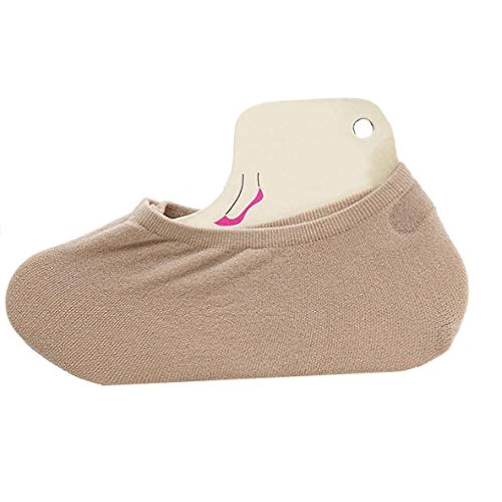 抗生物質バットハードウェア春夏通気性固体女性快適な目に見えない靴下滑り止め10代の少女スリッパ短いスリッパボートソックス-イエロー&ブラウン