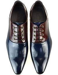 [ルシウス] LUCIUS ドレスシューズ メンズ 革靴 本革 レザー コンビシューズ 内羽根 プレーントゥ ロングノーズ ビジネスシューズ 紳士靴 【 163-23C-CPZ 】 ネイビー ワイン