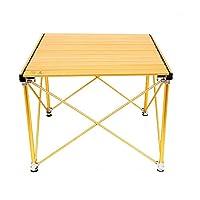 折りたたみ キャンプ用テーブル 調整可能 足 軽量 巻き上げる アルミニウム にとって ピクニック バーベキュー 釣り ハイキング 旅行、 掃除が簡単 (色 : ゴールド)