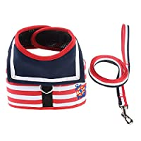 JOYS CLOTHING 犬の鎖の胸部ストラップセット、中小犬用のペット迷彩ベスト (Color : Red and white, Size : S)