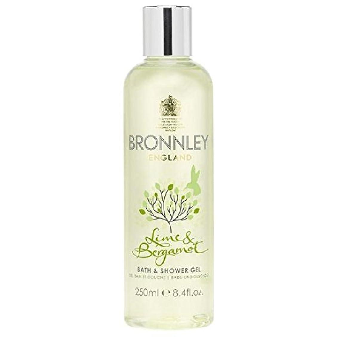ストリップ波紋このライム&ベルガモットバス&シャワージェル250ミリリットル x2 - Bronnley Lime & Bergamot Bath & Shower Gel 250ml (Pack of 2) [並行輸入品]