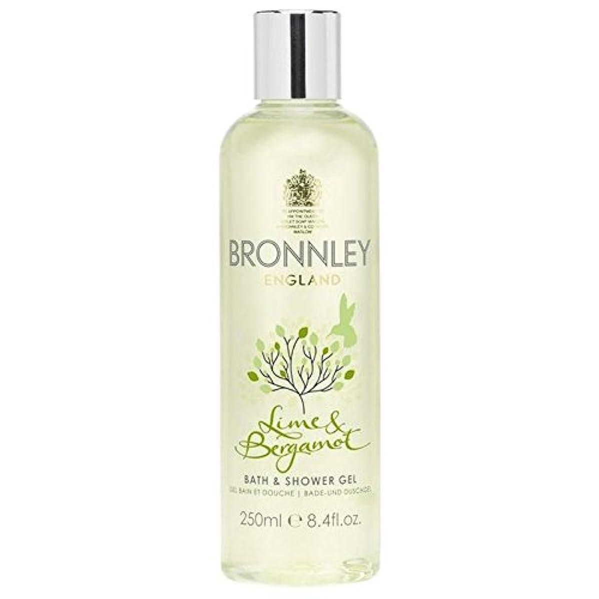 征服者餌部族ライム&ベルガモットバス&シャワージェル250ミリリットル x4 - Bronnley Lime & Bergamot Bath & Shower Gel 250ml (Pack of 4) [並行輸入品]