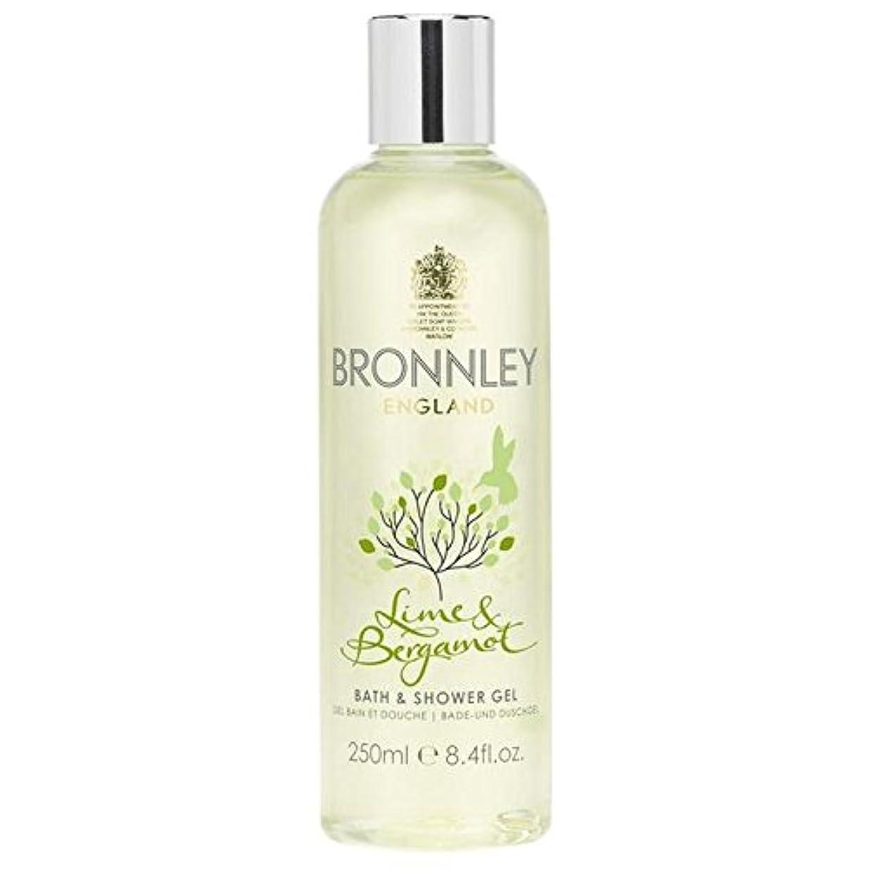 配るピアース簡単なライム&ベルガモットバス&シャワージェル250ミリリットル x4 - Bronnley Lime & Bergamot Bath & Shower Gel 250ml (Pack of 4) [並行輸入品]