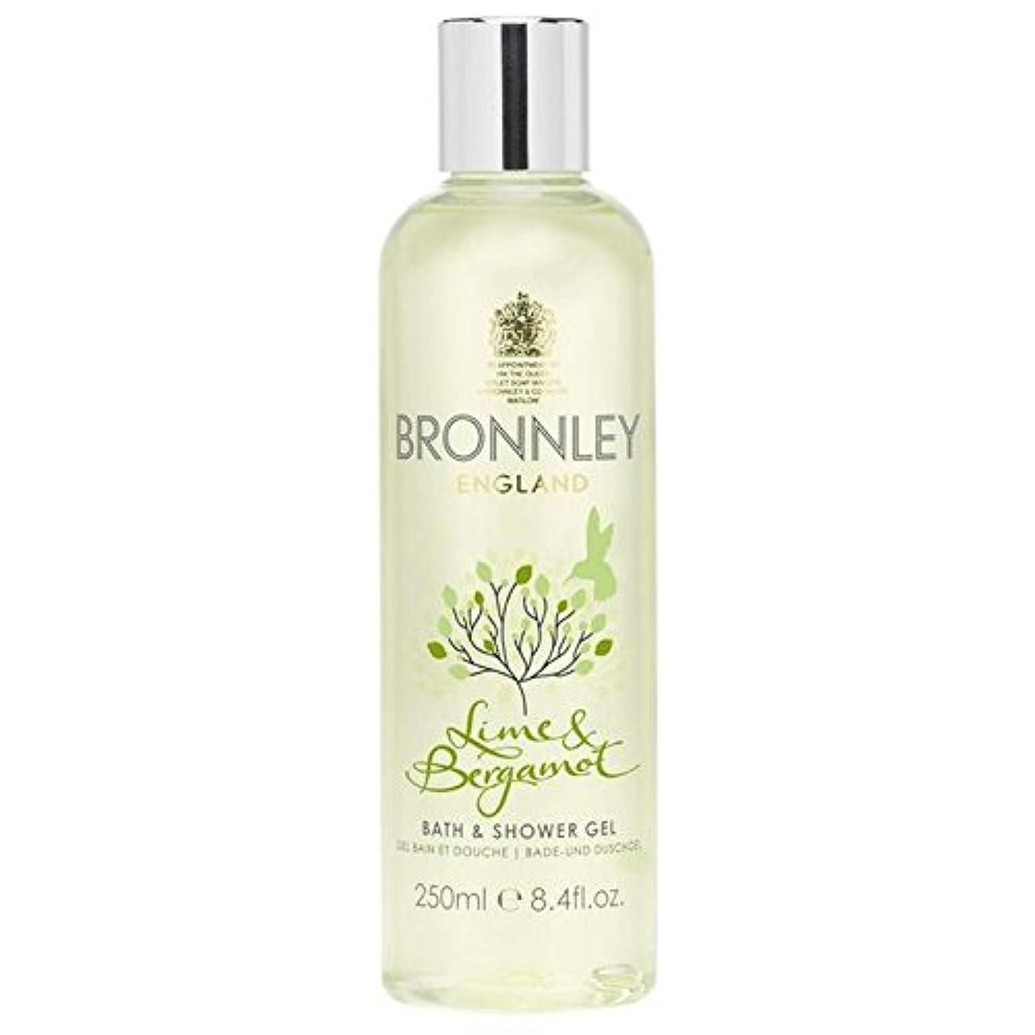 粘性のダイエット皮ライム&ベルガモットバス&シャワージェル250ミリリットル x2 - Bronnley Lime & Bergamot Bath & Shower Gel 250ml (Pack of 2) [並行輸入品]