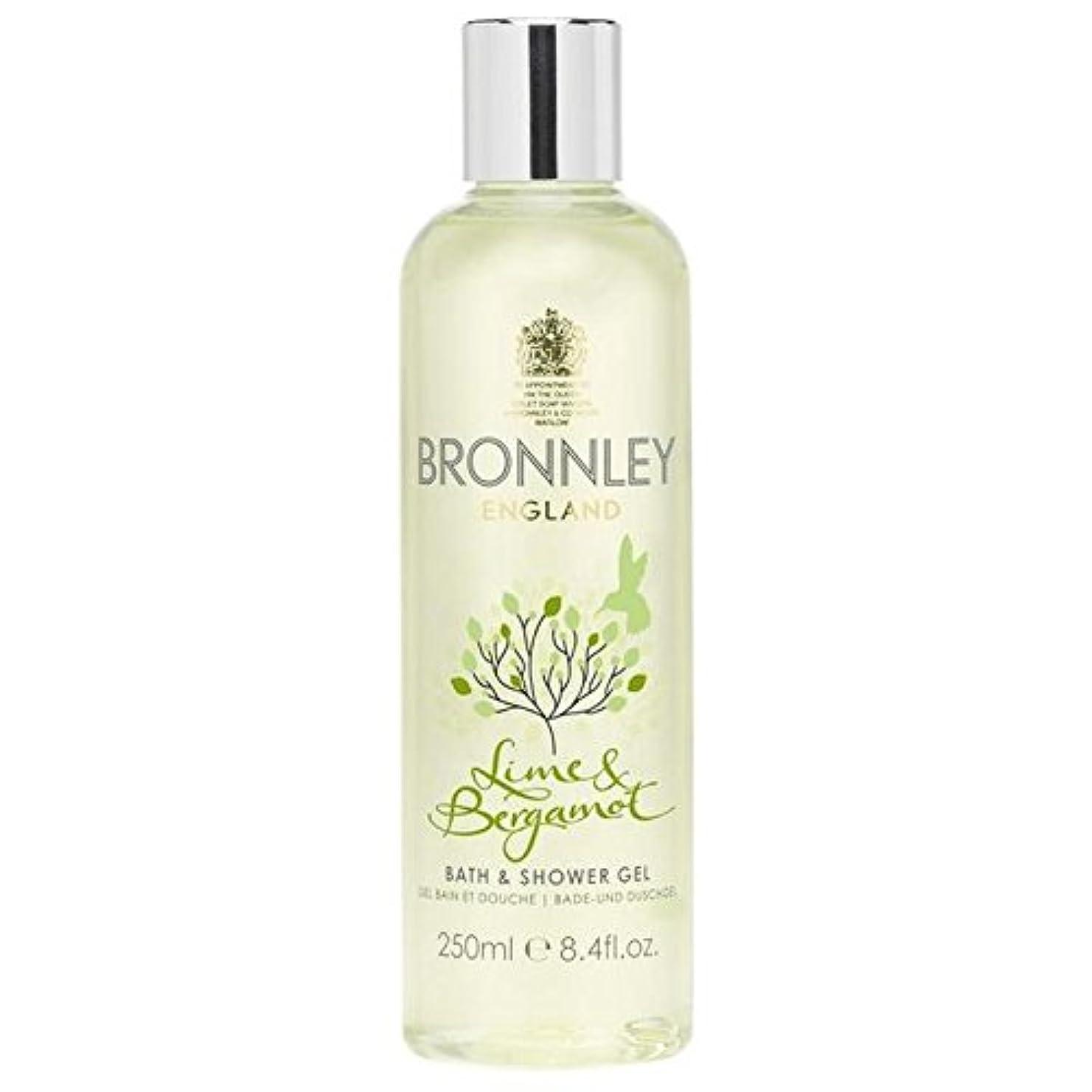 対応する地図計画的ライム&ベルガモットバス&シャワージェル250ミリリットル x4 - Bronnley Lime & Bergamot Bath & Shower Gel 250ml (Pack of 4) [並行輸入品]
