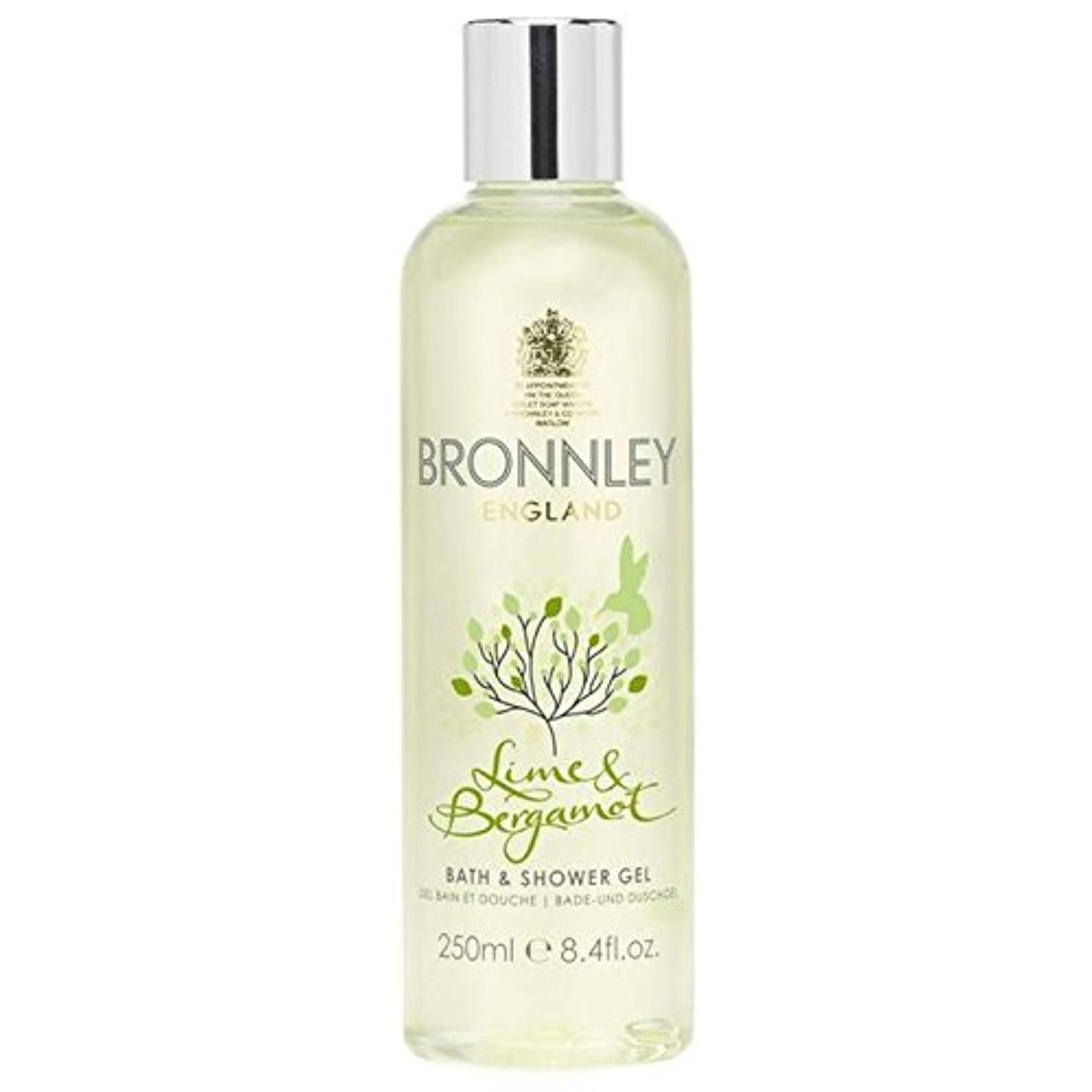 石灰岩いつ日焼けライム&ベルガモットバス&シャワージェル250ミリリットル x4 - Bronnley Lime & Bergamot Bath & Shower Gel 250ml (Pack of 4) [並行輸入品]