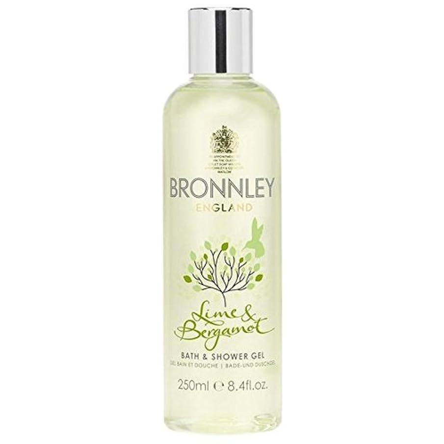集団的くしゃくしゃ作曲するライム&ベルガモットバス&シャワージェル250ミリリットル x4 - Bronnley Lime & Bergamot Bath & Shower Gel 250ml (Pack of 4) [並行輸入品]