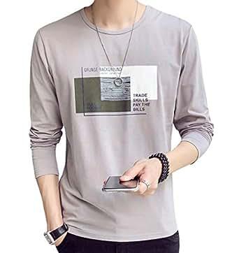 JHIJSC Tシャツ メンズ 長袖 無地 綿 ゆったり 薄手 おしゃれ おおきいサイズ (グレー, M)