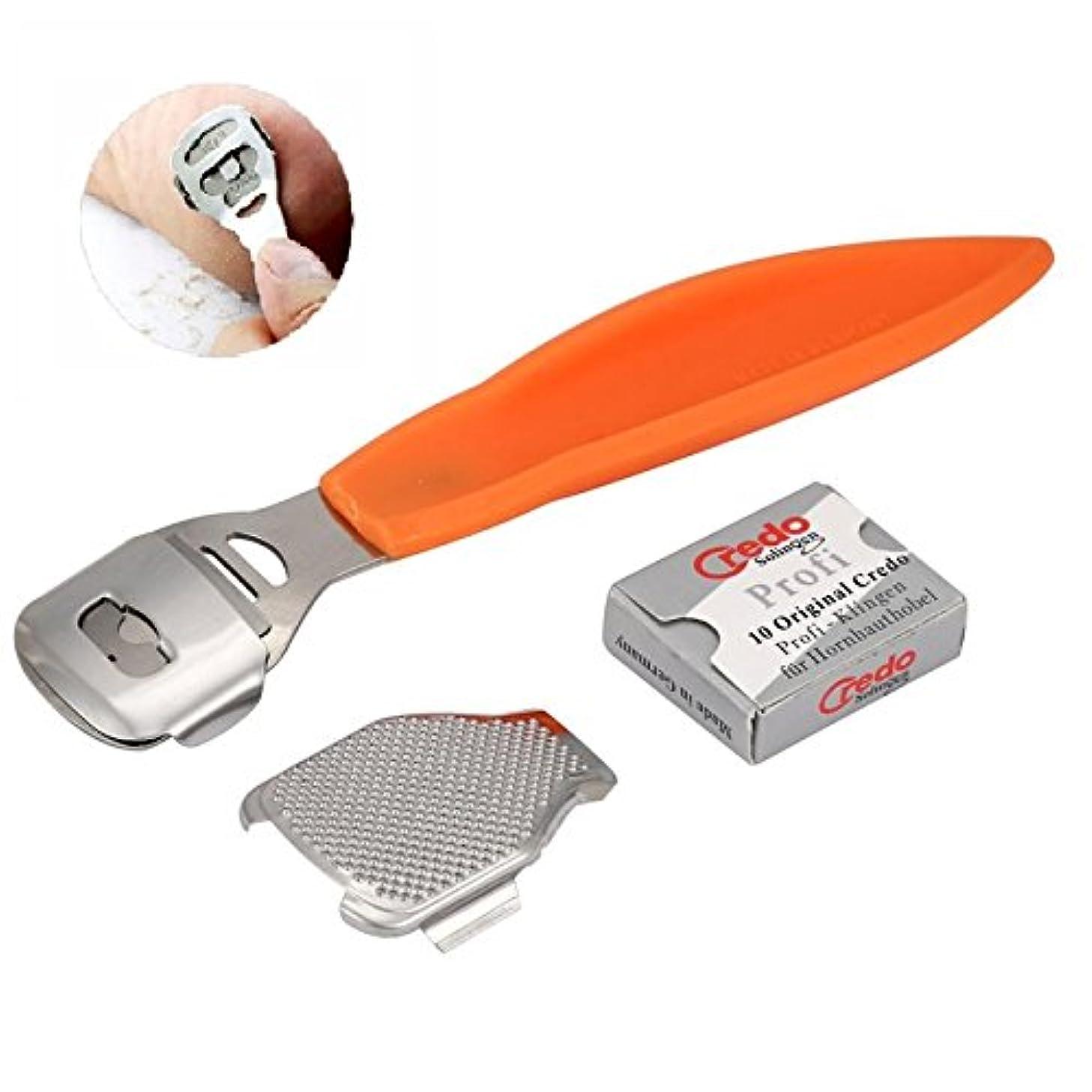 作詞家守るの間でFoot File Set Callus Cuticle Remover Hard Dead Skin Shaver Scraper Foot File Blades Pedicure Tools Set Feet Care + 10 x Blades