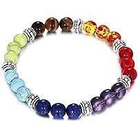 HSLOVE 8MM Lava Rock 7 Chakras Diffuser Bracelet for Women Men Energy Healing Balancing Natural Gemstone Crystals Beads Stretch Yoga Bracelets