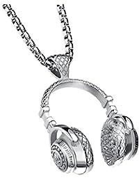 Yoursfs 音楽ネックレス ステンレス ネックレスメンズ 60cmチェーン ヘッドフォンのペンダントカジュアルプレゼント
