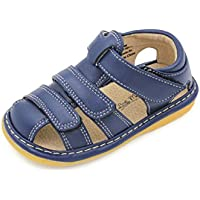 Little MAE'S Toddler Boy Sandals   Brown, Black or Navy Blue Closed Toe Adjustable Strap Squeaky Sandals   Premium Quality (Removable Squeakers)