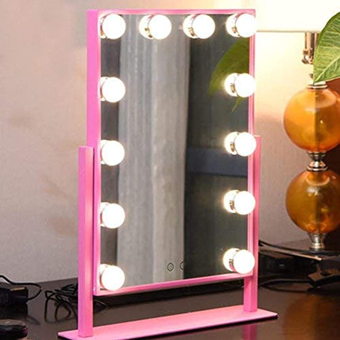 バケット情緒的履歴書メイクアップミラー - ミラー大片面電球バニティミラー二色調光美容ミラーと化粧鏡テーブルLEDランプ (Pink)