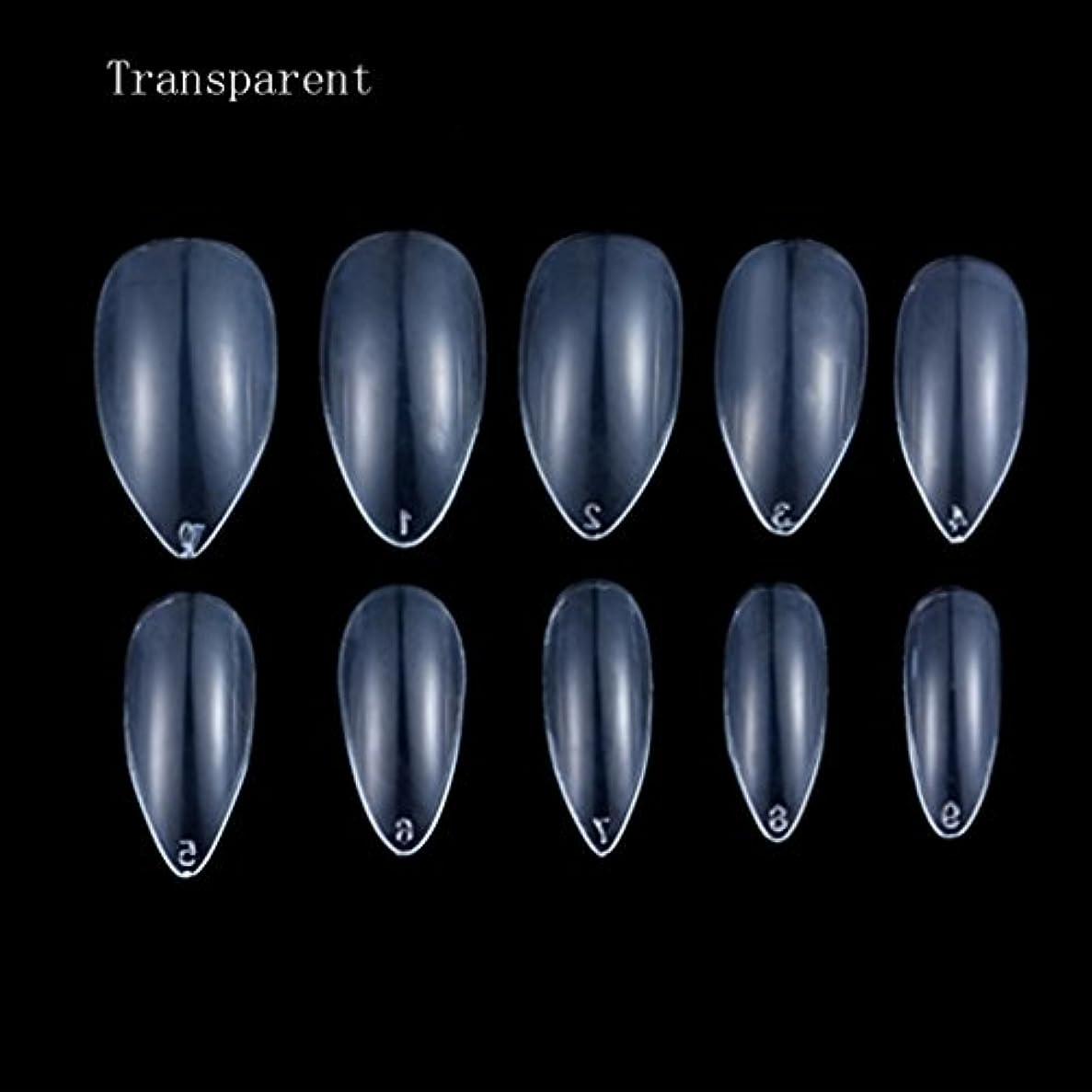 Honel つけ爪 無地 ショート ネイルチップ クリア ネイルチップ 短い 100枚入れ 10サイズ 爪にピッタリ 尖った爪 付け爪 ケース付き 透明 シャープ ポイント(ハロウィン コスプレも対応できます)