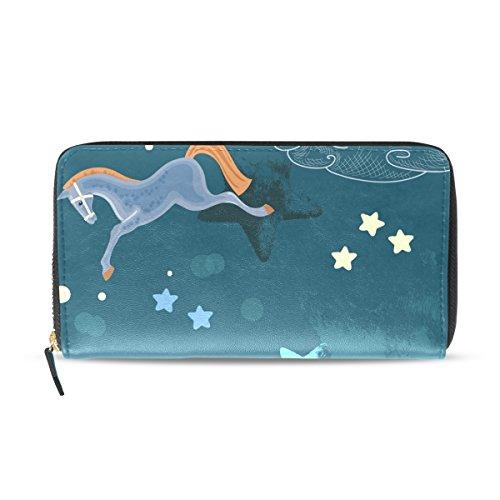 Mikyu(ミクョ)長財布 レディース かわいい 大容量 おしゃれ 10代 20代 ファスナー 馬 馬柄 コインケース 小銭入れ さいふ 財布 プレゼント