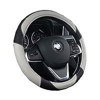 DreamBoomドリームブーム ハンドルカバー ステアリングカバー レザー カーハンドルカバー 軽自動車 普通車 トランク 四季汎用 自動車内装 042-ttrp-14(F グレー)