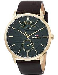 [トミーヒルフィガー]TOMMY HILFIGER 腕時計 HUNTER マルチファンクション グリーン文字盤 ステンレススチール(イエローゴールドコーティング) ダークブラウンレザー 44㎜ メンズ 1791607 メンズ 【並行輸入品】