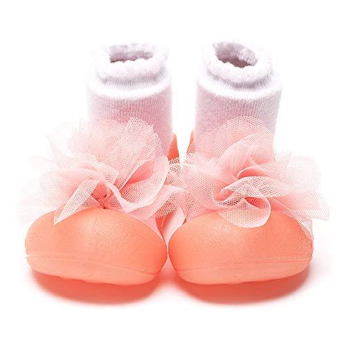 Attipas [ アティパス ] ベビーシューズ/ 滑り止め 公園遊び 出産祝い プレゼント あんよの練習 保育園靴 かわいいソックスシューズ プレシューズ 室内外両用 女の子 男の子 コサージュ(Corsage) ピンク(Pink)