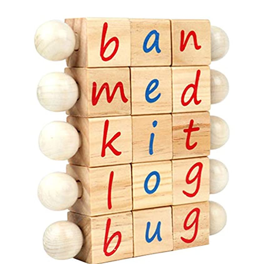 ハウジング慢性的選択するHakka 単語スペルグッズ木製モンテッソーリ音声キューブ読書ブロック幼稚園教育学習おもちゃカードなし