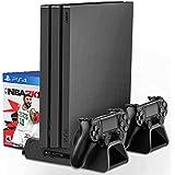 DOBE PS4 縦置きスタンド 冷却ファン 3つ付き多機能PS4 スタンド 縦置き コントローラー同時2台充電可能PS4 冷却 PS4/PRO/SLIM通用でスロット搭載してゲームディスク収納可能