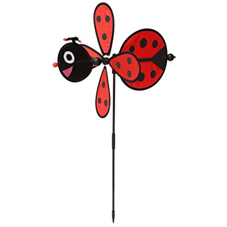 CynKen DIY Cute Bee Ladybug Windmill Lawn Garden Yard Home Camp Decor Pinwheel Wind Spinner Toy Red